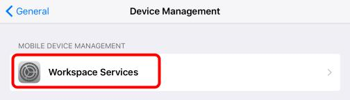 Force the Wipe - IF NECESSARY Tap the Workspace Services profile that was pushed to the device. Force the Wipe - IF NECESSARY 1.