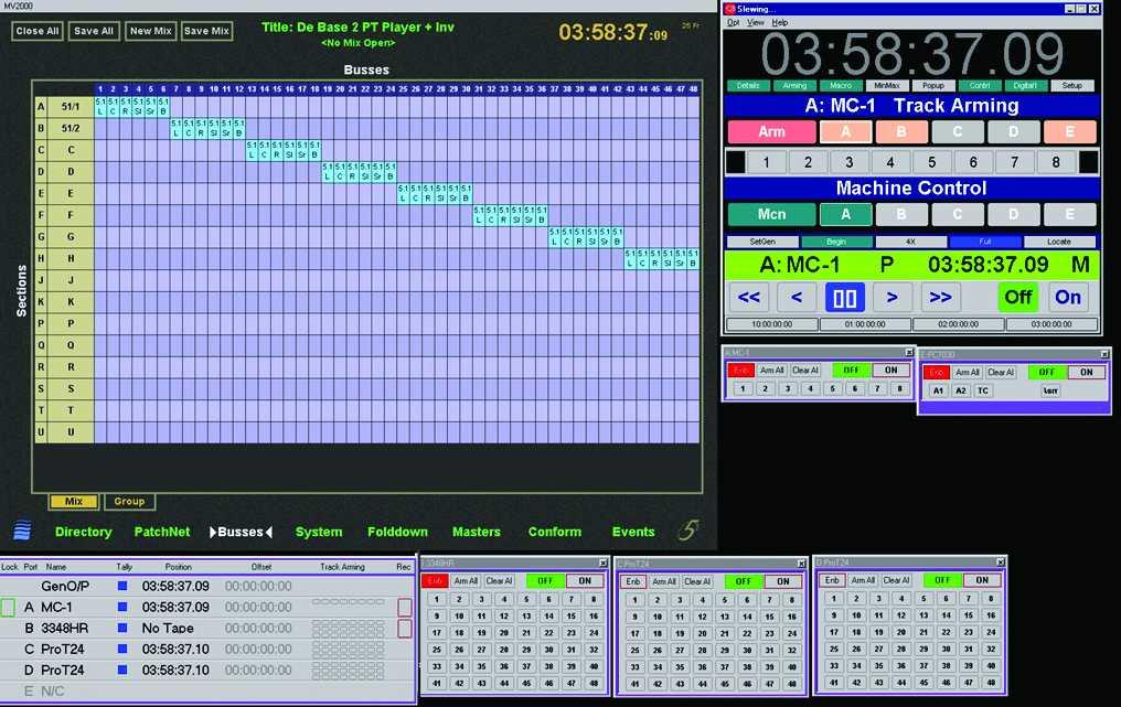 Example screen capture of a Euphonix console