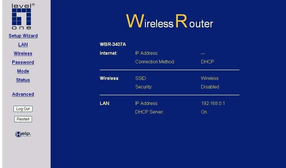 Wireless ADSL VPN Router User Guide Home Screen After finishing the Setup Wizard, you will see the Home screen. When you connect in future, you will see this screen when you connect.