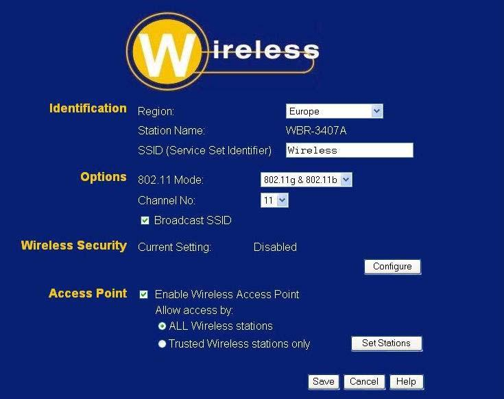 Setup Wireless Screen The Wireless ADSL Router's settings must match the other Wireless stations. Note that the Wireless ADSL Router will automatically accept both 802.11b and 802.