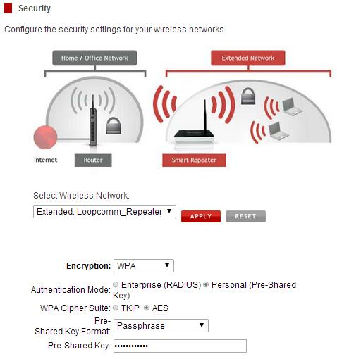 3.2.3 Security 1. Wireless security allows you to change the type of wireless security settings for your Extended Network or your Home Network.