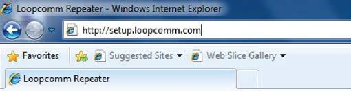 Open your web browser and enter setup.loopcomm.