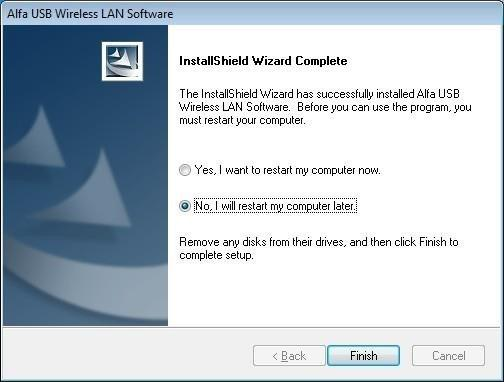 4. Click the Finish button to complete driver and utility installation.