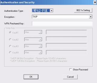 3. Authentication & Security page will pop up. TKIP, AES and Both (TKIP+AES) security are support.
