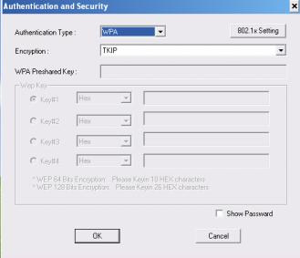 3. Authentication & Security page will pop up.