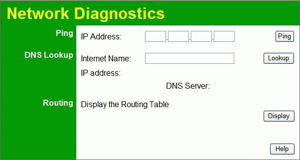 "Wireless Router User Guide Diagnostics This screen allows you to perform a ""Ping"" or a ""DNS lookup"". These activities can be useful in solving network problems."