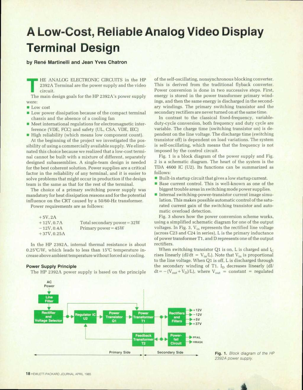 Lettpackard Hew April 19b5 Copr Hewlett Packard Co Pdf Circuits 8085 Projects Blog Archive Optical Sensor Circuit A Low Cost Reliable Analog Video Display Terminal Design By Rene Martinelli And Jean