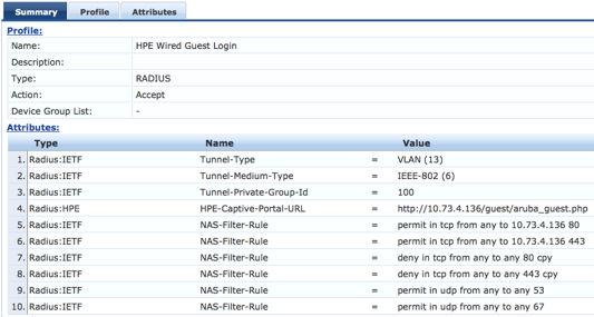 Add all of the NAS-Filter-Rule attributes specified below, replacing the IP address in the first two NAS-Filter- Rule attributes with your CPPM address.