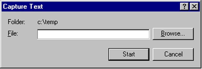 Procedure 1. In Hyperterminal, click on Transfer Capture Text. Figure 70: Capture text window of the Hyperterminal application 2.