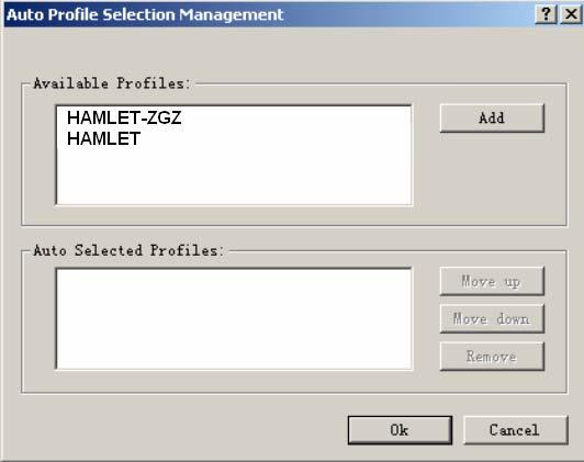 Figure 3-11 Auto Profile Selection Management Dialog Diagnostics The Diagnostics tab of the Hamlet Wireless Client Utility provides buttons used