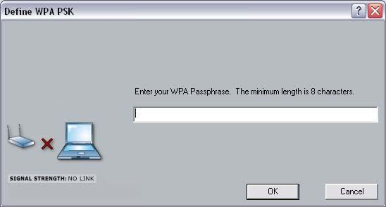 If your network uses WPA-PSK, select that radio button, and then click on the Configure button. You will then see the following window. Enter the WPA pass-phrase in the text box.