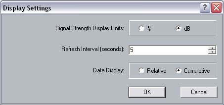 You will then see the following window. In this window you can configure the display options of: Signal Strength, Refresh Interval, and Data Display.