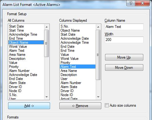 Exercise 1: Working as an Operator in IGSS Task 3: Customize the alarm list You can also customize the alarm list that is displayed in the right pane, selecting which columns are to be displayed and