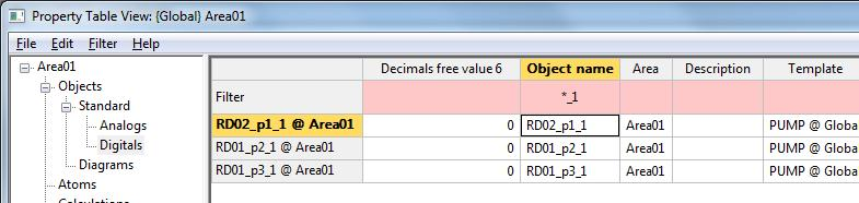 6. In the left pane of the Property Table View form, click + Objects > Standard > Analogs and locate the RD01_t1_1 object.