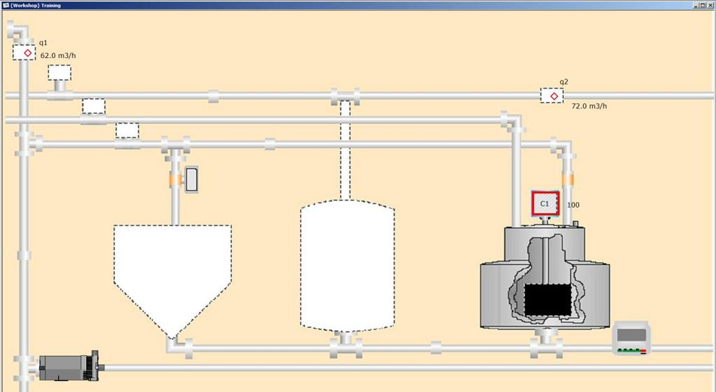 Create and position the pipe in the process diagram. In the Drawing Toolbar, click the Pipes button ( diagram.