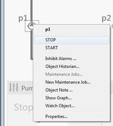 following ways: Click the STOP button under the p1 text Right-click the p1 object