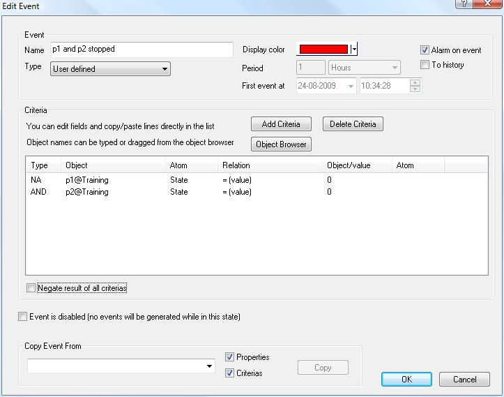 Exercise 6: Create and Show Events the Edit Event form, click the Add Criteria button to create the second criteria.