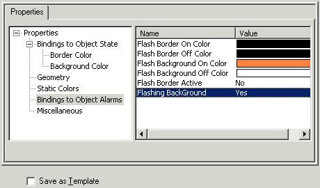 Exercise 9: Use Standard Descriptors and Drawing toolbar Edit object alarm bindings 1) In the left pane on the Attributes of Polygon tab, expand the click Bindings to object Alarms. a. In the right pane, double-click the Flash Background On Color field in the Value column and select an orange color.