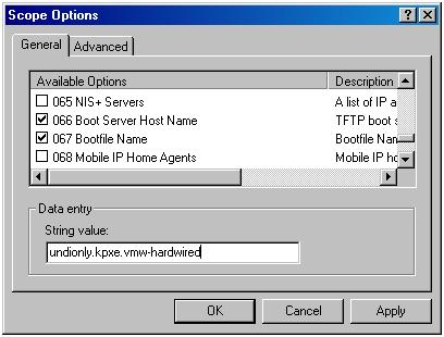 4 Set up the DHCP Server to point the hosts to the TFTP Server. a b c d In the DHCP window, navigate to DHCP > hostname > IPv4 > Autodeploy Scope > Scope Options.