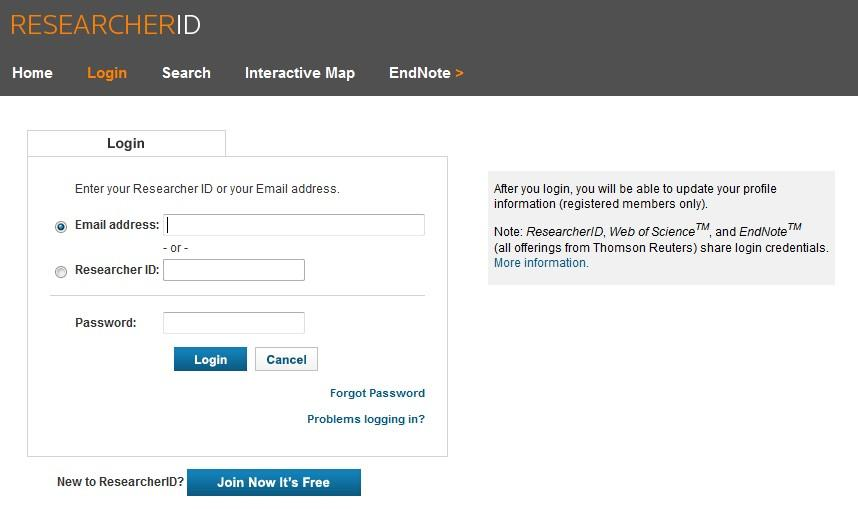 This launches ResearcherID. Enter your ResearcherID details to log in.