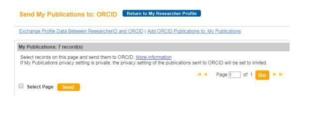 Select publications from your list (100 per page). Send through to ORCID.