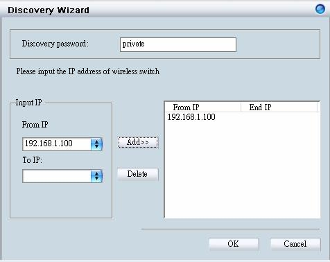 On the Smart WLAN Manager, choose Tools Discovery Wizard or click the icon ; fill in the Discovery password with the SNMP
