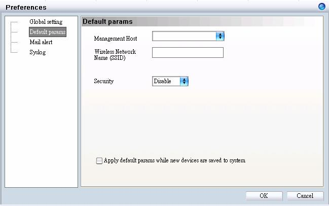 Default Parameters In Default Params, users can configure the SSID and security to specific managed AP, or to create a default profile for all