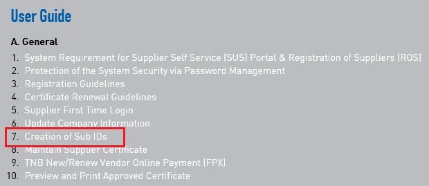 PROCESS (2) : Maintain Certificates / Supplier Details : Supplier Information ROLE : TNB SUS SUPPLIER Proses ini adalah
