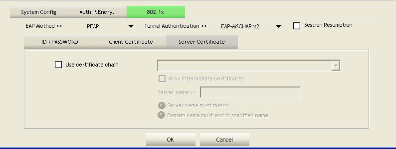 Use certification chain: Place a check in this to enable the certificate use.