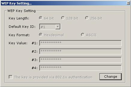 Encryption Setting WEP Press WEP Encryption Key Setting to enter the WEP Key Setting page shown as - Press the Change button to modify the contents of WEP Key setting, when it is finished, press