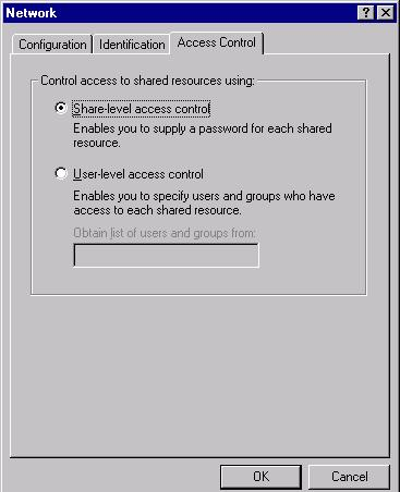 5. Click the Access Control tab. Make sure that Share-level access control is selected.