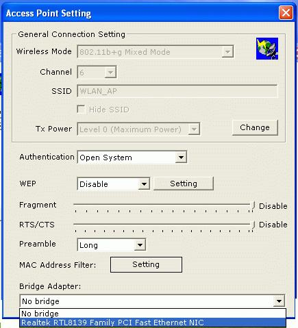 3. Select the wired Network Adapter that has already installed in the PC from the pull-down menu. 4.