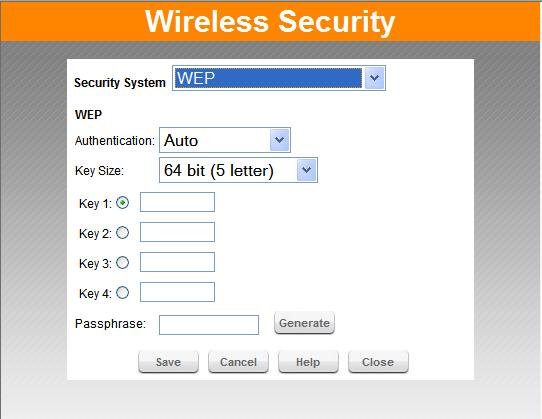 "Setup Wireless Security - WEP Figure 10. Figure 8: WEP Screen WEP Authentication Normally this can be left at the default value of ""Auto""."