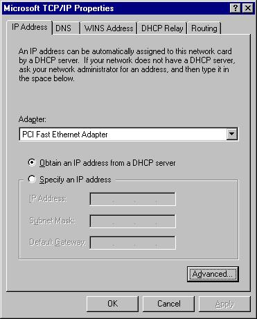PC Configuration 2. Click the Properties button to see a screen like the one below. Figure 20. Windows NT4.0 - IP Address 3. Select the network card for your LAN. 4.