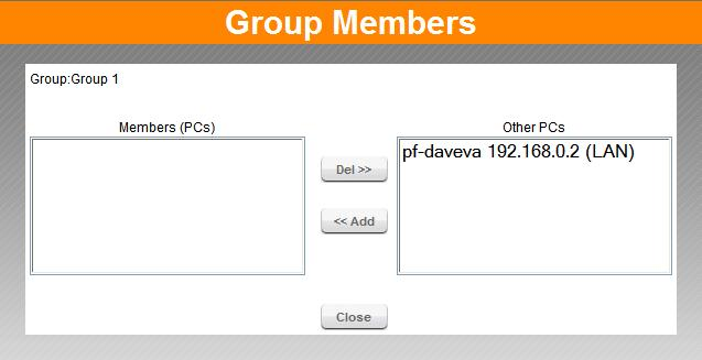 Advanced Features Members Screen This screen is selected by clicking the Members button in the Access Control screen.
