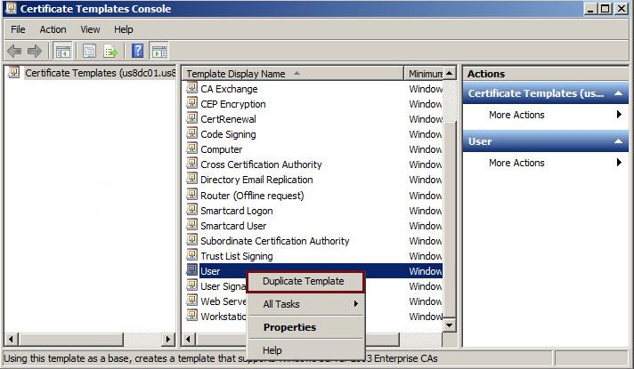 Chapter 2: Install, Set Up, Configure Certificate Add a Certificate Template on the CA The CA (certsrv) window displays. 1. In the left pane, select (+) to expand the CA directory. 2. Right-click the Certificate Template folder and select Manage.