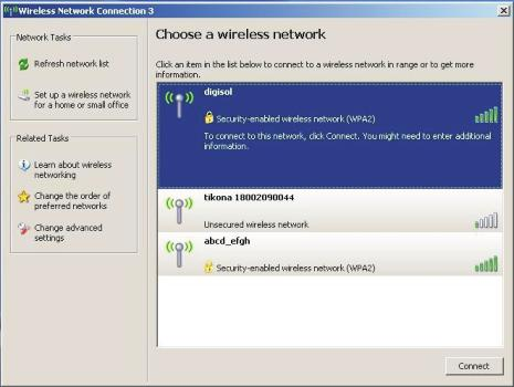 A window displaying available wireless networks will open.