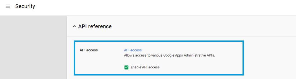 Chapter 3: Google Sync Implementation Enable the Google API In order for Workspace ONE to provision users' passcodes, the Google API must be enabled using the Google control panel.