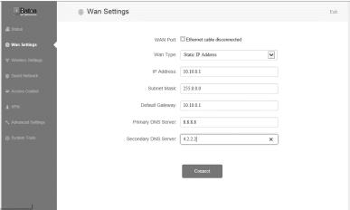 In-case your ISP have provided Static IP settings, configure the IP address details for Static IP connection type mode.