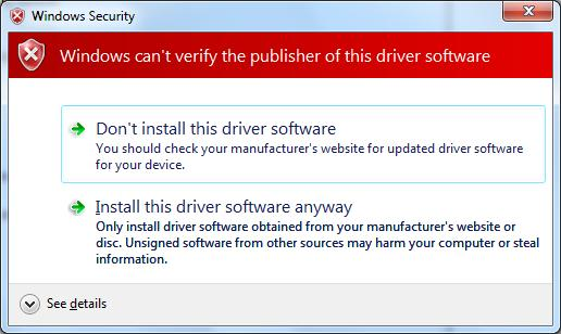 Install this driver software anyway to continue the