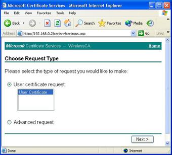 Select User certificate request and select
