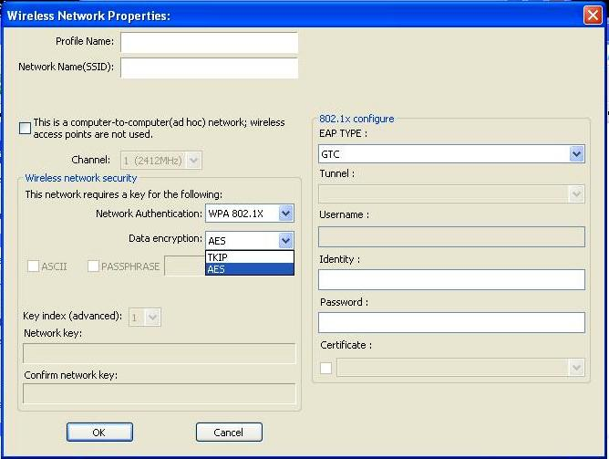 Configuring WPA/WPA2 Encryption (for corporate networks) Select WPA 802.1x / WPA2 802.