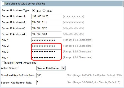 Step 6. In the Key-2 to Key-4 fields, enter in the RADIUS key associated with the configured backup RADIUS servers.