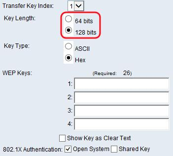 Step 3. In the Key Type field, choose whether you would like to enter the keys in ASCII or hexadecimal format.