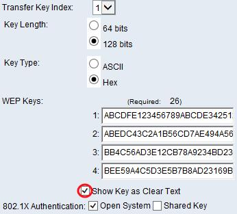 Note: When using a different firmware on the WAP351, WAP131, or WAP371, the Show Key as Clear Text field may be missing.