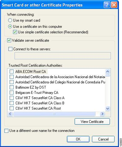 Figure E-4 Smart Card or Other Certificate Properties Screen Step 5 Step 6 Step 7 Step 8 Choose the Use a certificate on this computer option.