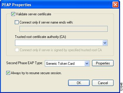 Figure E-6 PEAP Properties Screen Step 4 Step 5 Check the Validate server certificate check box if server certificate validation is required (recommended).
