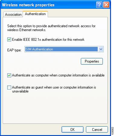 Figure E-8 Wireless Network Properties Screen (Authentication Tab) Step 2 Step 3 Step 4 Check the Enable IEEE 802.