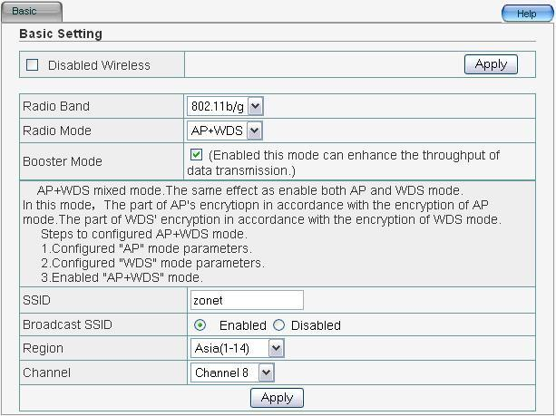 4.4.4 AP+WDS In AP+WDS mode, ZEW3003 will work both in AP mode and WDS mode.