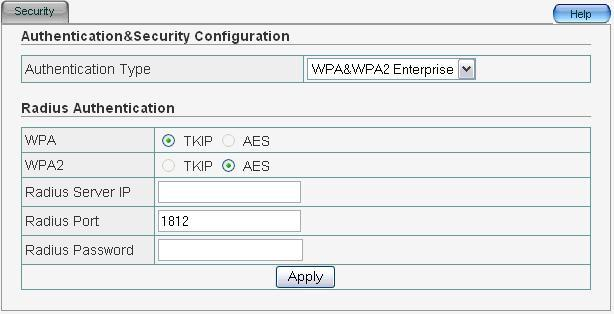 9 WPA&WPA2 Enterprise This security mode is used when a RADIUS server is connected to ZEW3003.